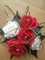 FLOWERS RED/IVORY WEDDING CAKE TOPPER/TABLE DECORATION/FISH BOWL CENTREPIECE
